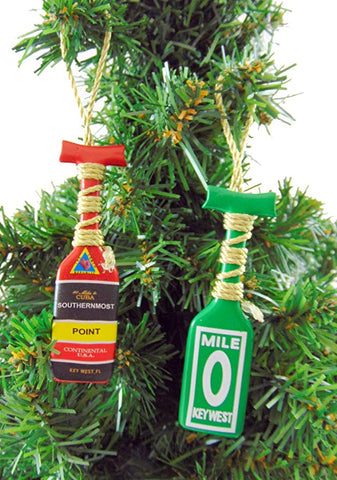 Key West Ornament Southernmost Point and Mile 0 Boat Oar Paddle Christmas Tree Decoration, Set of 2