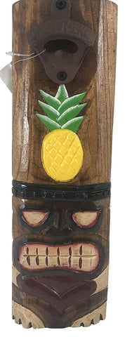 Tiki Pineapple Beer Bottle Opener Wood Sign Handmade Painted Bar Decor, 13 Inches