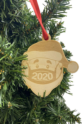 Santa with a Mask Ornament Wooden Christmas Tree Decoration 2020 Souvenir Keepsake