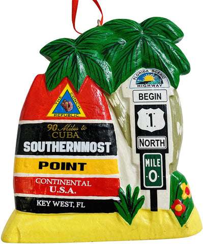 Key West Southernmost Point Ornament Christmas Tree Decoration, 3 1/2 inch