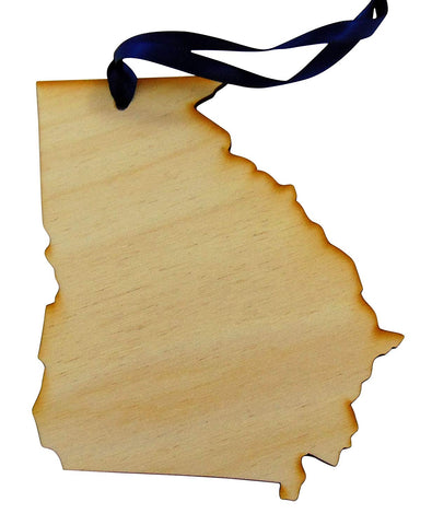 Georgia Wooden Christmas Ornament State Map Boxed Gift Handmade in The U.S.A.