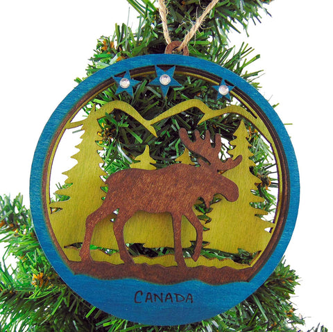 Canada Wooden Ornament with Canadian Moose Wood Christmas Decoration 4 1/2 Inch