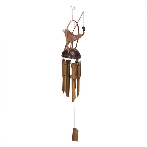 Moving Bird Coconut and Bamboo Wind chime, 23 Inches CLEARANCE!