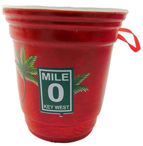 Key West Beer Pong Red Cup Christmas Ornament Decoration Decoration, 2 inch