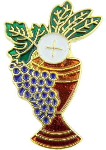Gold Tone Enamel Chalice with Grapes and Wheat First Communion Lapel Pin, 1 Inch