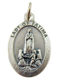 Our Lady of Fatima Medal 3/4 Inch Silver Tone Metal Made in Italy, Set of 3
