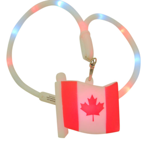 Canada Day Canadian Flag Light Up LED Flashing Necklace