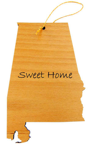 Alabama Sweet Home Ornament Wooden State Shaped Christmas Tree Decoration Gift Boxed Made in USA