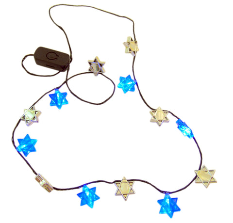 Hanukkah Flashing Necklace Star of David Flashing LED Holiday Party Wear