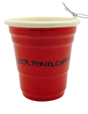 Beer Pong Champ Red Cup Christmas Ornament Ceramic Party Trophy Decoration, 2 inch