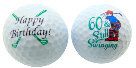 60th Birthday Sixty & Still Swinging Set of 2 Golf Ball Golfer Gift Pack