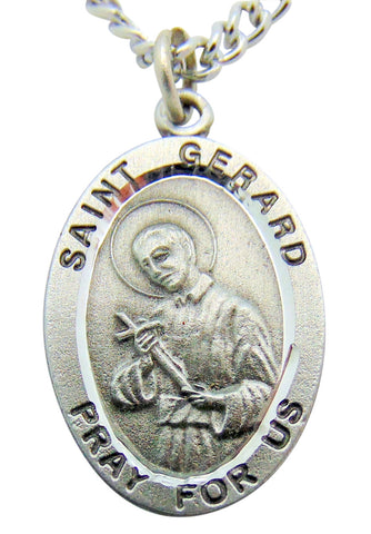 "Saint Gerard Pewter Medal 1"" Pendant on 24"" Endless Stainless Steel Chain"