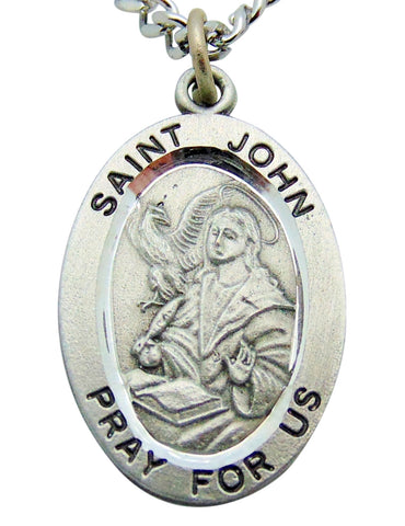 "Saint John Pewter Medal 1"" Pendant on 24"" Endless Stainless Steel Chain"