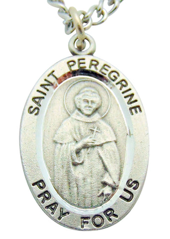 "Saint Peregrine Pewter Medal 1"" Pendant on 24"" Endless Stainless Steel Chain"