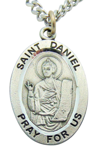 "Saint Daniel Pewter Medal 1"" Pendant on 24"" Endless Stainless Steel Chain"