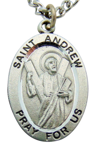 "Saint Andrew Pewter Medal 1"" Pendant on 24"" Endless Stainless Steel Chain"