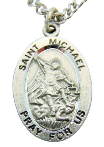 "Saint Michael Pewter Medal 1"" Pendant on 24"" Endless Stainless Steel Chain"