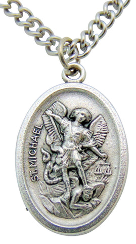 "BULK SET OF 40 MEDALS St Michael Medal 3/4""L with 24"" Endless Stainless Steel Chain"