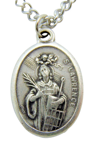 "St Lawrence Medal 3/4""L with 24"" Endless Stainless Steel Chain"