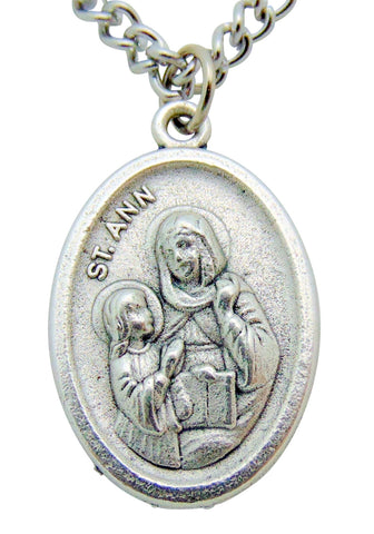 "St Ann Medal 3/4""L w/ 24"" Endless Stainless Steel Chain Made in Italy"