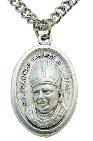 "St John Paul II Medal 3/4""L w/ 24"" Endless Stainless Steel Chain Made in Italy"