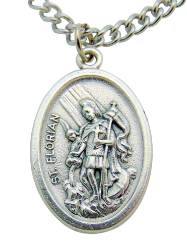 "St Florian Medal 3/4""L w/ 24"" Endless Stainless Steel Chain Made in Italy"