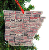 Arkansas Christmas Ornament Wooden Tree Decoration Gift Boxed, 4 Inch