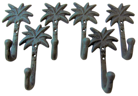 SET OF 6 Cast Iron Palm Tree Hooks Tropical Tiki Home Decor