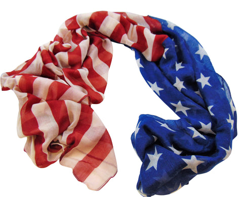 Permium American Flag Fashion Scarf Retro Style Womens or Mens USA Apparel