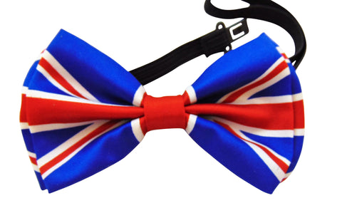 British UK Flag Bow Tie Pre-tied Adjustable Satin Bow Tie for Formal Tuxedo Wedding Party Wear