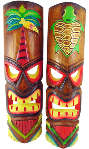 Tiki Mask Wall Plaque Handcarved Wooden Decor with Palm Tree and Pineapple Design 20 Inches, Set of 2