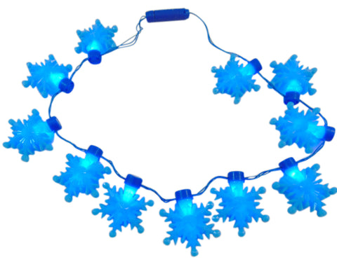 Snowflake Princess Flashing Light Up Bead Necklace LED Party Wear, 18 Inch