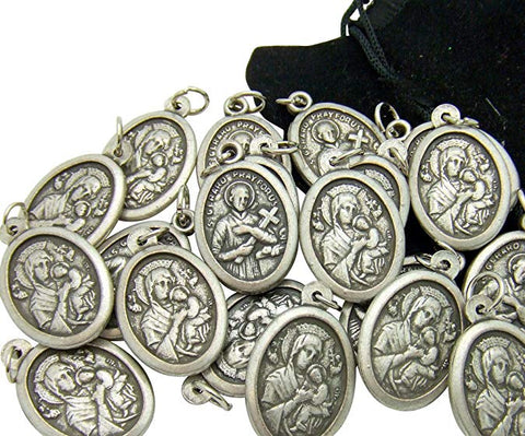 Bulk Medal Lot Set of 40 Our Lady of Perpetual Help/ St Gerard Metal Pendant W Bag From Italy