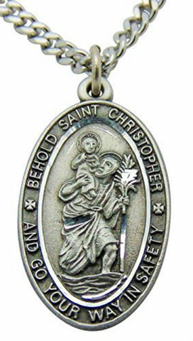 Saint Christopher Pewter Travel Pendant Oval Medal on 24 Inch Stainless Steel Chain Gift