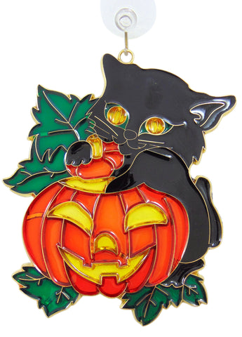 Jack-O-Lantern Black Cat Halloween Suncatcher Window Ornament Decoration with Suction Cup Gift Boxed, 4 Inch
