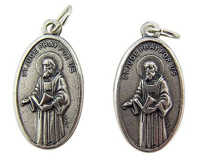 MRT Lot Of 2 St Jude Pray For Us Silver Plate Medal Pendant Patron Saint Gift