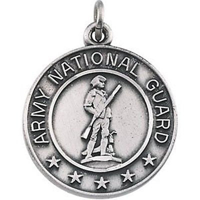 MRT One Nation St Michael US Army National Guard Sterling Silver Medal Necklace