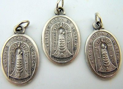 Blessed Virgin of Loreto Religious Charm Pendant Pray For Us Silver Medal LOT 3