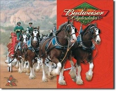 Old Style Budweiser Clydesdales Tin Sign Retro Garage Home Bar Decor Gift USA