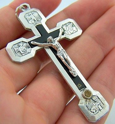 MRT Pectoral Crucifix Stations Of The Cross Italy Silver Tone & Black 2-1/4""