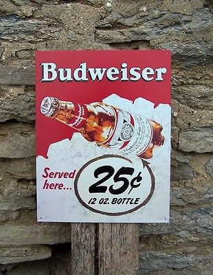 Vintage Antique Style Budweiser Bud  25 Cent Beer Tin Sign Retro Ad Bar Gift USA