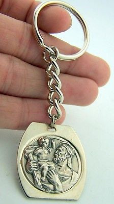 Catholic Key Chain Saint St Christopher & Child Jesus Silver Medal Heavy Duty