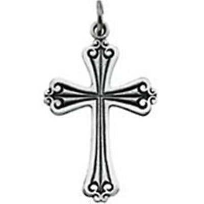 "Sterling Silver Polished Cross Pendant Jewelry Religious Charm 1 1/4"" x 3/4"" New"