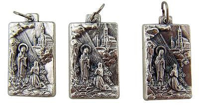 "MRT Lot Of 3 Silver Plate Our Lady Lourdes Medal Pendant Blessed Mary Italy 1"" L"