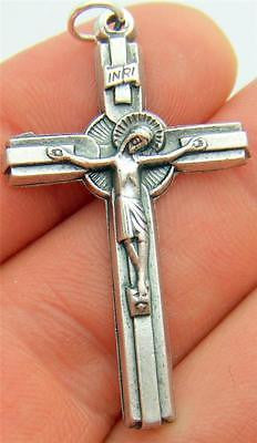 "MRT Silver Plate Sun Crucifix Pendant Catholic Cross Gift 1 1/2"" Italian Made"