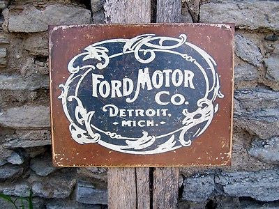 Ford Motor Company Detroit  Antique Look Retro Tin Sign Garage Decor Gift USA