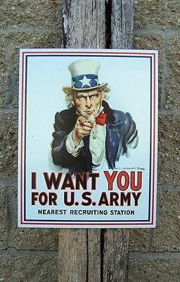 Uncle Sam Retro Metal Sign US Army Recruitment Ad Poster Wall Patriotic Gift USA