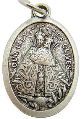 "MRT Our Lady Of Olives Catholic St Mary Madonna Medal Silver Plate 3/4"" Italian"
