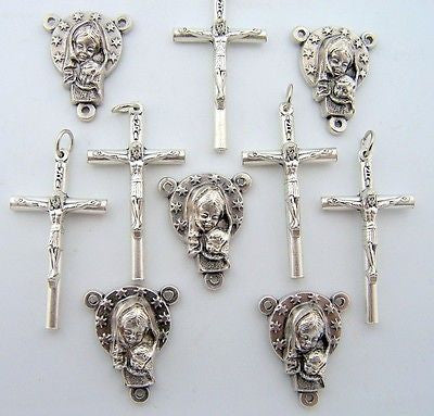 Cross Crucifix & Madonna Child Virign  Mary Rosary Center Piece Parts LOT 10