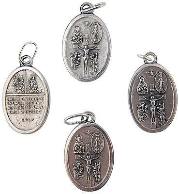 4 Lot Four Way Silver Plate Scapular Medal Catholic Pendant Gift Italy 3/4""
